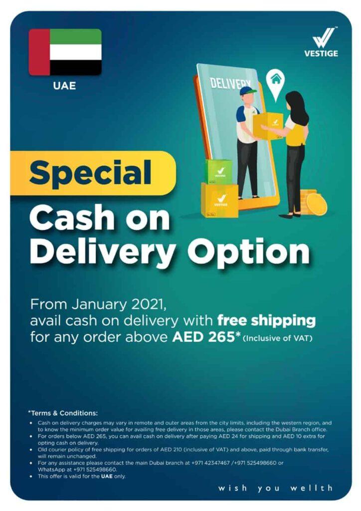 vestige uae special cash on delivery offer 2021
